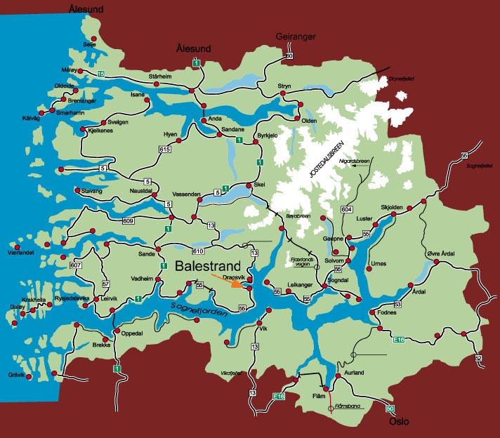 kart over sognefjorden Balestrand kart over sognefjorden